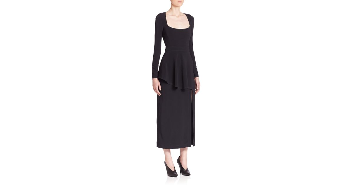 Lyst Stella Mccartney Long Sleeve Stretch Cady Peplum Dress In Black