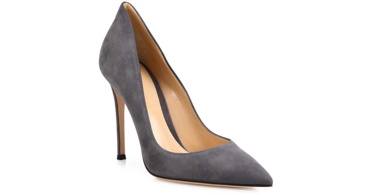 0cfc5ff909c3 Lyst - Gianvito Rossi Ellipsis High-back Suede Point Toe Pumps in Gray