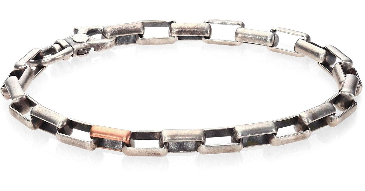 Lyst Le Of Work Gridlocks Sterling Silver And Rosegold Large Box Chain Bracelet In Metallic For Men