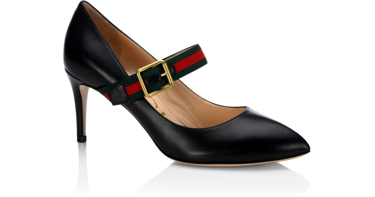 c66341e7244 Lyst - Gucci Sylvie Leather Mary Jane Pumps in Black