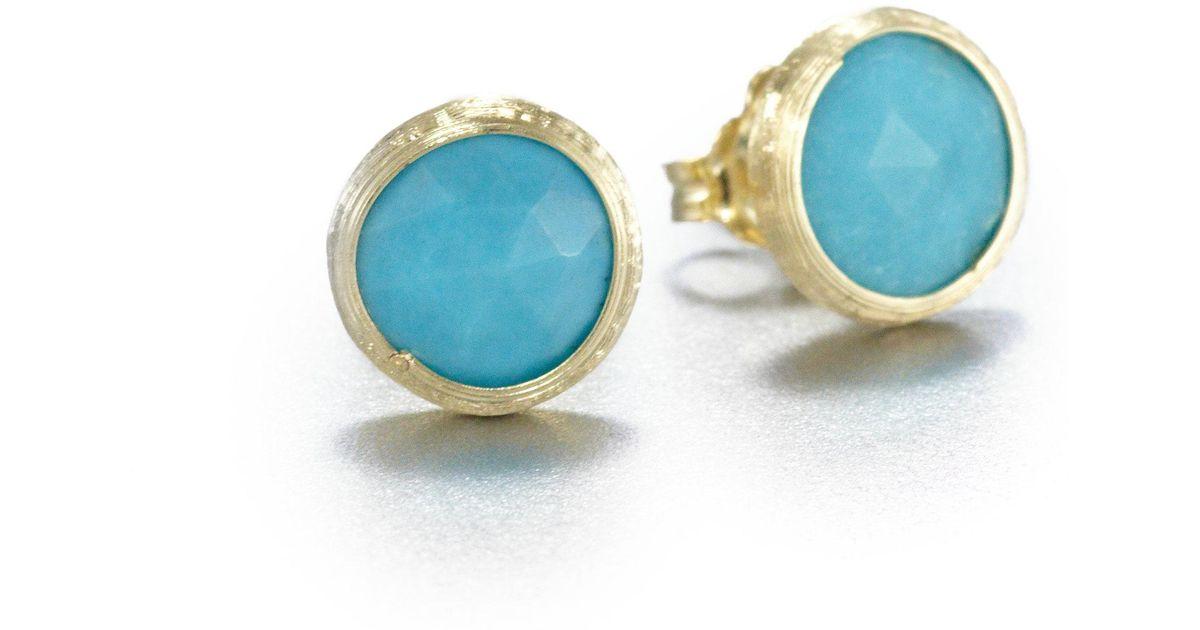 Lyst Marco Bicego Jaipur Resort Turquoise 18k Yellow Gold Stud Earrings In Metallic
