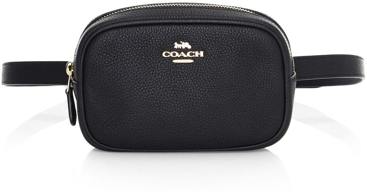 b3077ccdfe COACH Black Leather Belt Bag