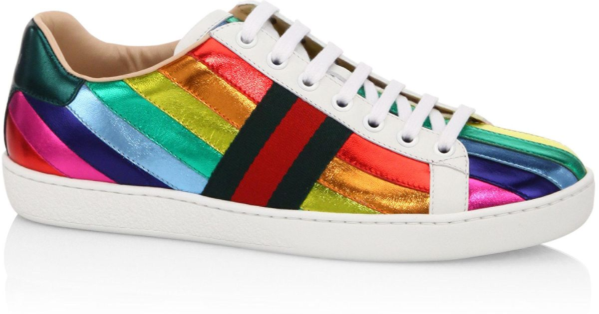 a5f5729189c Lyst - Gucci New Ace Contrast-panel Leather Low-top Trainers