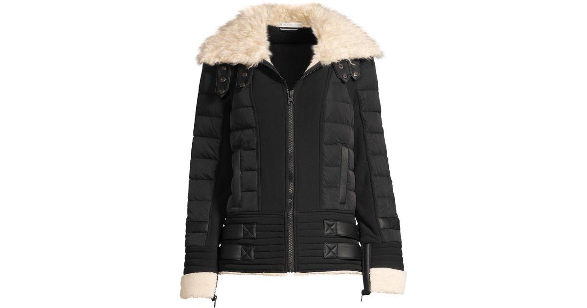 c92b7e23fb551 Lyst - BLANC NOIR Women s Moto Aviator Faux-fur Collar Down Puffer Jacket -  Black - Size Small in Black