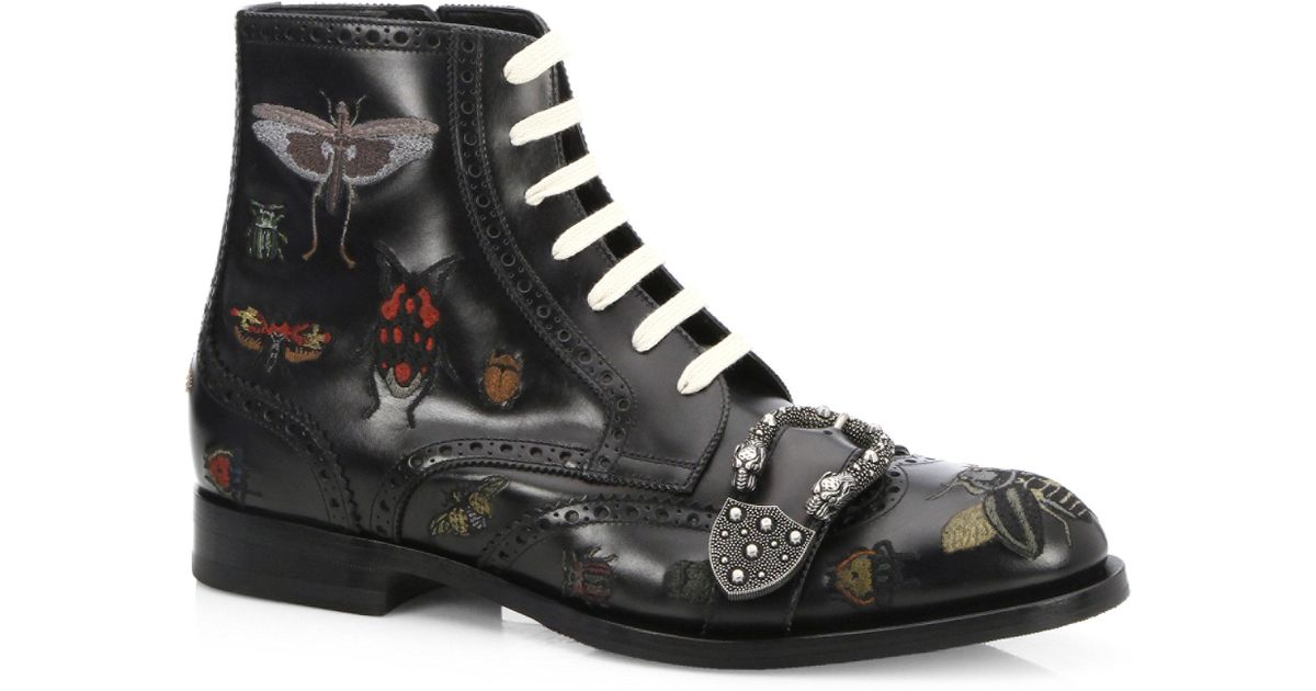 5c32a95f96d Lyst - Gucci Queercore Insects Leather Boots in Black