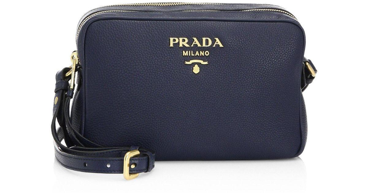Lyst - Prada Daino Crossbody Camera Bag in Blue dee1f6e15afc9
