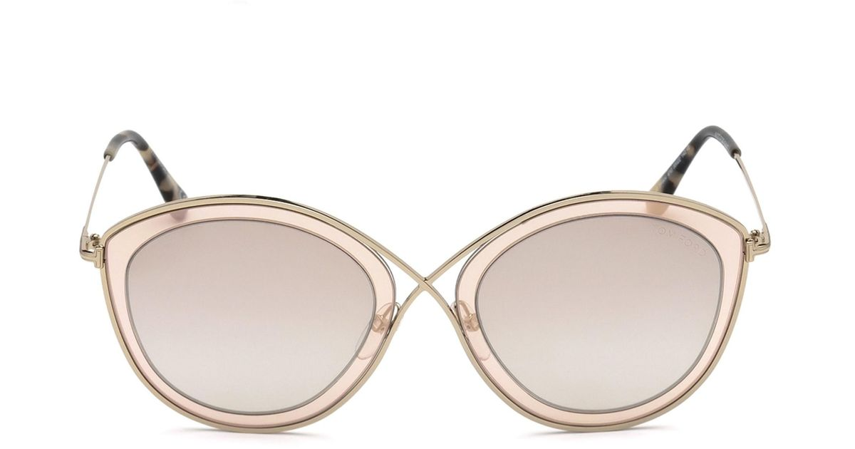 bfe2654cee Tom Ford Women s Sascha 55mm Butterfly Sunglasses - Brown in Brown - Lyst