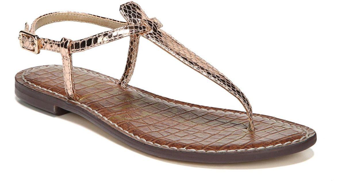 978ab1073d82 Lyst - Sam Edelman Gigi Rose Gold Boa Snake Print Leather Thong Sandals