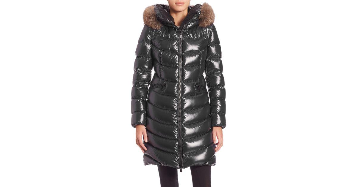 c645793d6 Moncler Gray Aphia Fur-trimmed Puffer Jacket