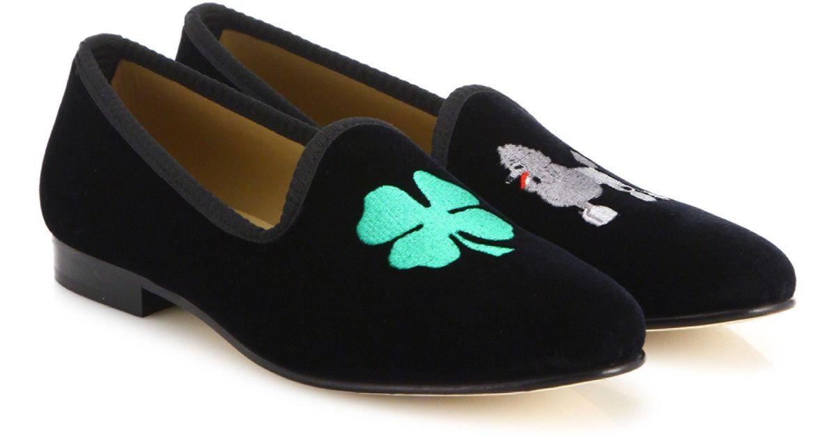 DEL TORO Lucky B$tch Velvet Smoking Loafers