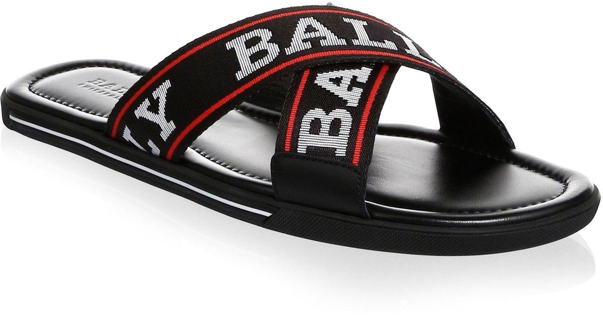 240254326d25 Lyst - Bally Bonk Logo Sandal in Black for Men