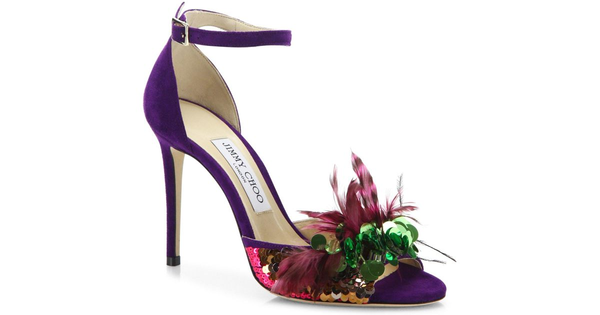 Jimmy Choo Feather-Embellished Suede Sandals from china sale online shopping sale free shipping pay with visa cheap price shipping outlet store online txC5s