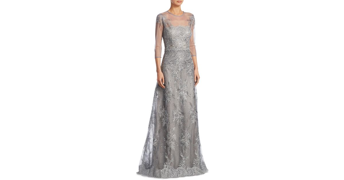Lyst - Teri Jon Lace Illusion Evening Gown in Metallic