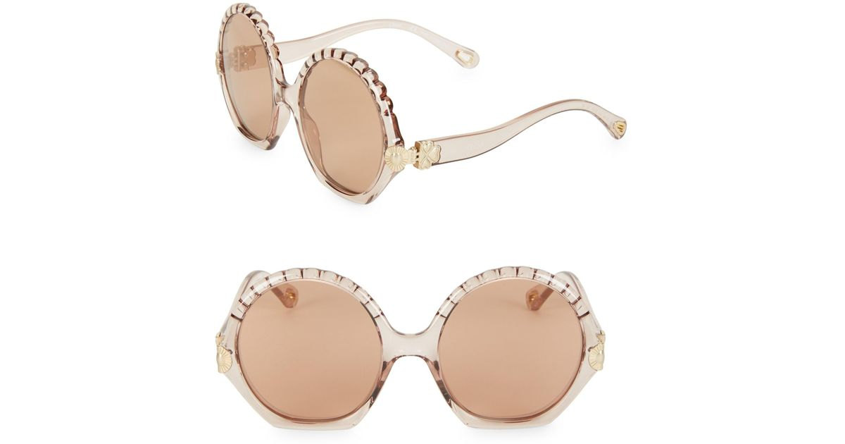 e7ba7d50ad2 Lyst - Chloé Vera 56mm Oversized Round Sunglasses in Natural