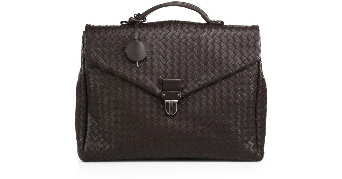 6a53d4c1a2ea Lyst - Bottega Veneta Woven Leather Briefcase in Brown for Men