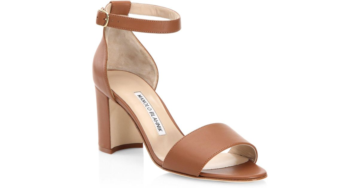 66fd0bfe91a Lyst - Manolo Blahnik Lauratomod Leather Sandals in Brown