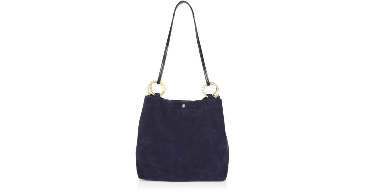 5c249305cc20 ... where to buy lyst tory burch farrah suede shoulder bag in blue ab702  4e787