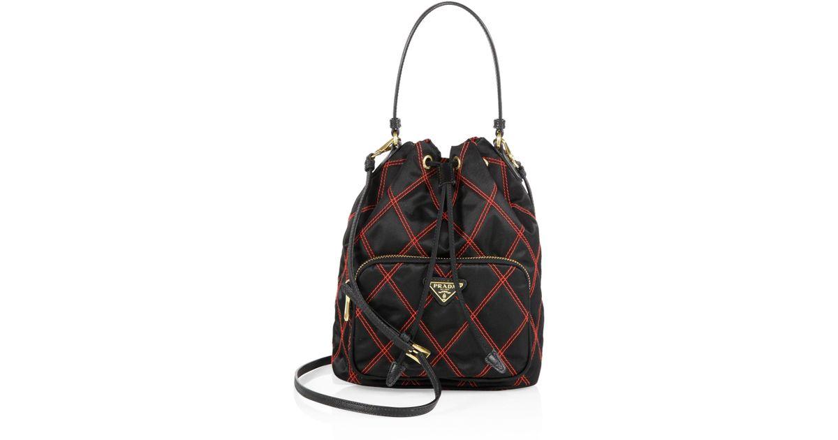 dbee8a3266c3 Prada Tessuto Impunturato Quilted Bucket Bag in Black - Lyst