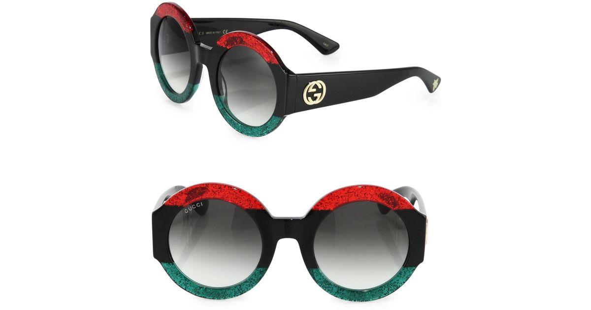 d71eddf6508b Gucci Round Frame Sunglasses in Black - Save 44% - Lyst