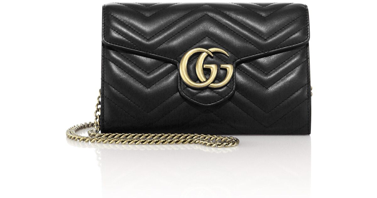 7f496c22dd7a00 Gucci Gg Marmont Matelassé Leather Chain Wallet in Black - Lyst