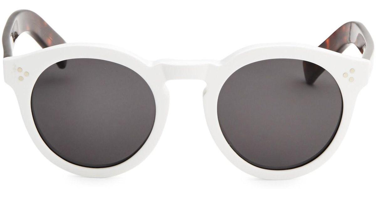 3d25b83a9d Lyst - Illesteva Leonard Ii White 50mm Oversized Round Sunglasses in White