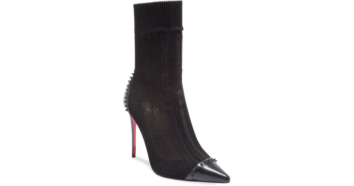 9a02aa33f24 Lyst - Christian Louboutin Dovi Dova 100 Spiked Cap Toe Knit Mesh Booties  in Black
