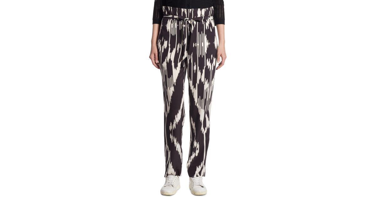 dc1d6972690 Theory Gunilla Ikat Silk Straight-leg Pants in Black - Lyst