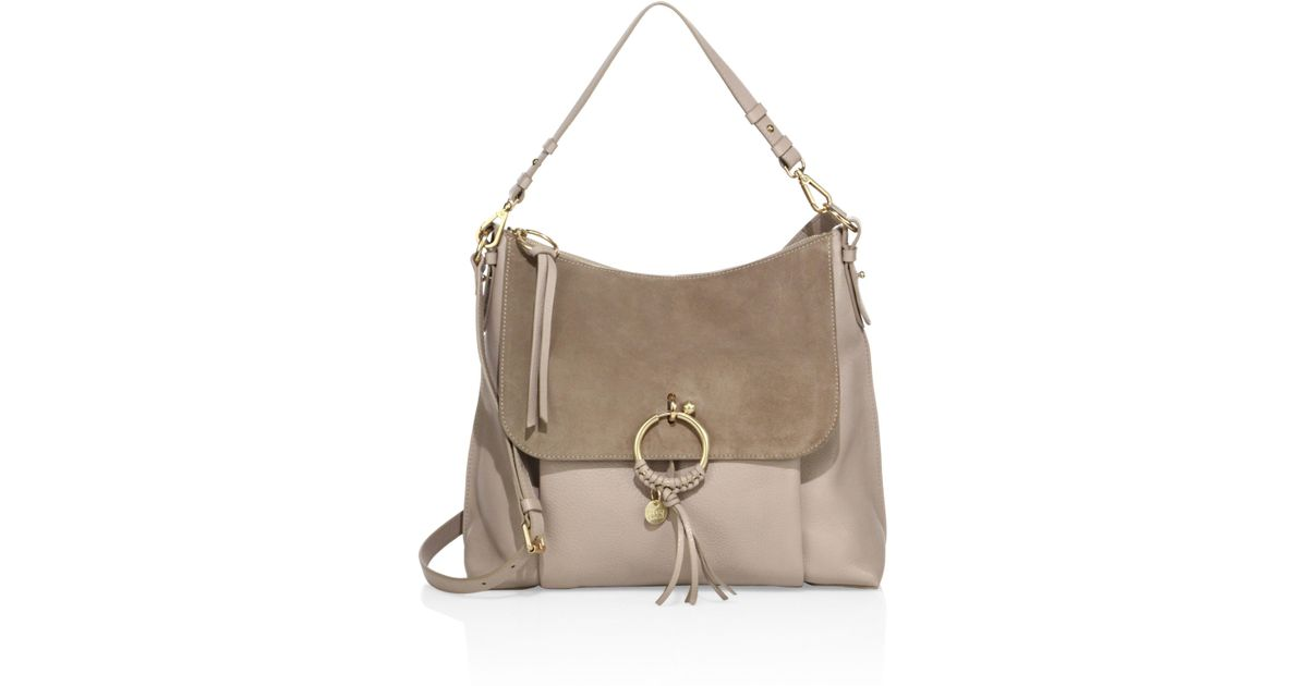 248a8a1d See By Chloé Gray Joan Large Leather & Suede Shoulder Bag