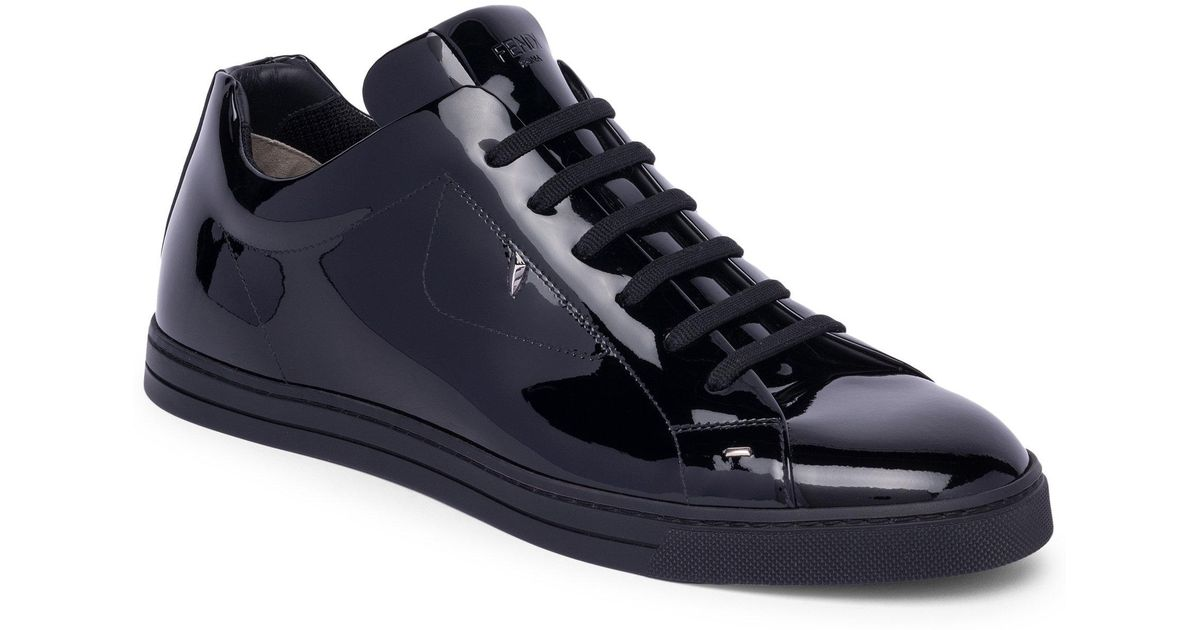 71e10597c0 Fendi Black Monster Patent Leather Sneakers for men