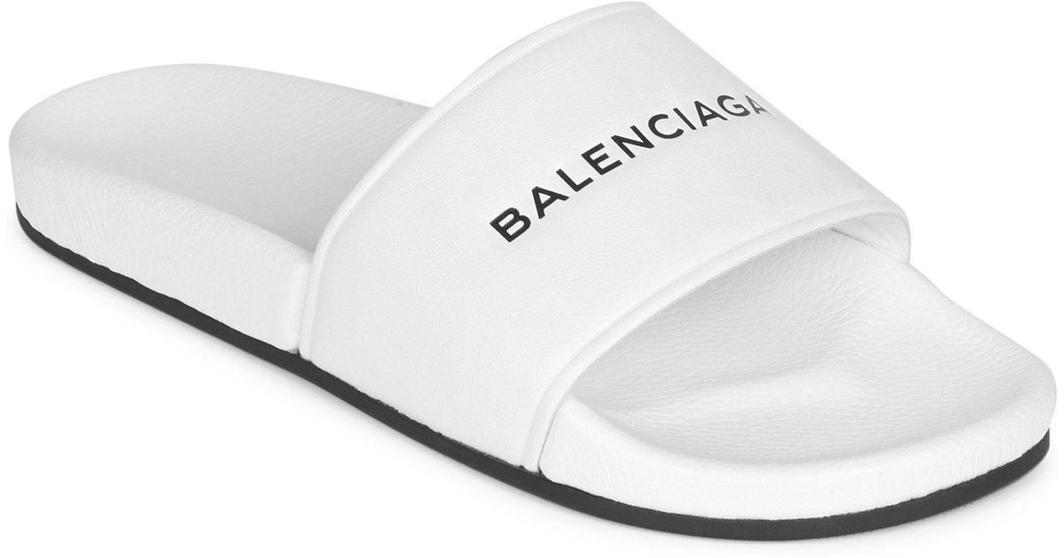e9dfb388423 Balenciaga White Logo Pool Slides in White - Save 71% - Lyst