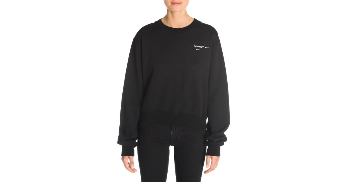 2710816f97 Off-White c o Virgil Abloh Leaves Arrows Crewneck Cropped Sweatshirt in  Black - Lyst