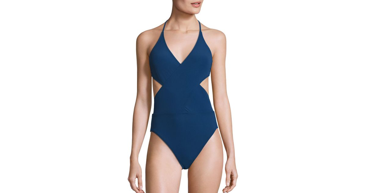d3ad46c46a2e Tory Burch Solid Wrap One-piece Swimsuit in Blue - Lyst