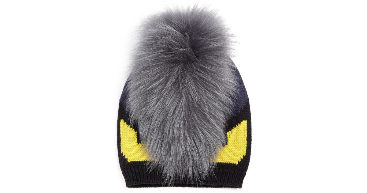 886624aa1c4 Lyst - Fendi Monster Fur-trimmed Wool Hat in Black for Men