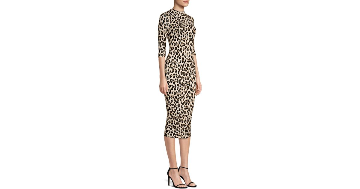 2db4b9ee9125 Alice + Olivia Women's Delora Leopard Print Bodycon Dress - Textured Leopard  - Size 0 - Lyst