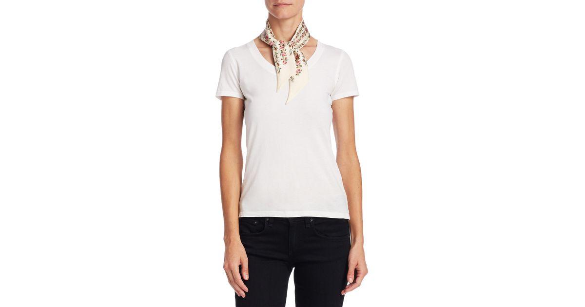 0cf04d3af2 Gucci White Silk Rose Print Neck Bow