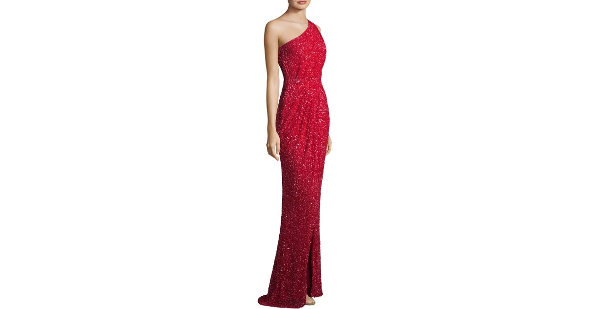 94bf0981096c5 Parker Black Marnie Sequin One-shoulder Dress in Red - Lyst