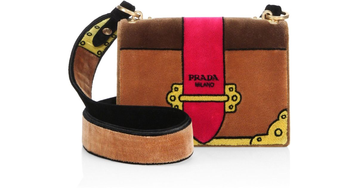 8210ec23a7ac Prada Cahier Colorblock Velvet Shoulder Bag - Lyst