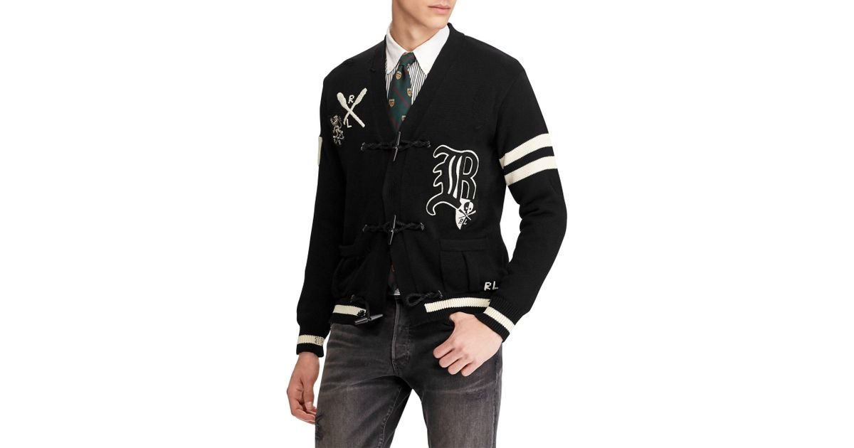 a0292b04 Polo Ralph Lauren Black Distressed Letterman Cardigan for men