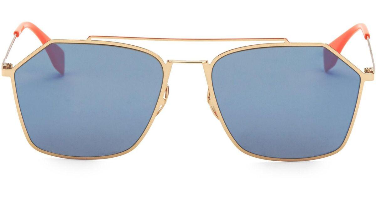 230cff961be Lyst - Fendi Men s 56mm Hexagon Aviator Sunglasses - Grey in Metallic for  Men