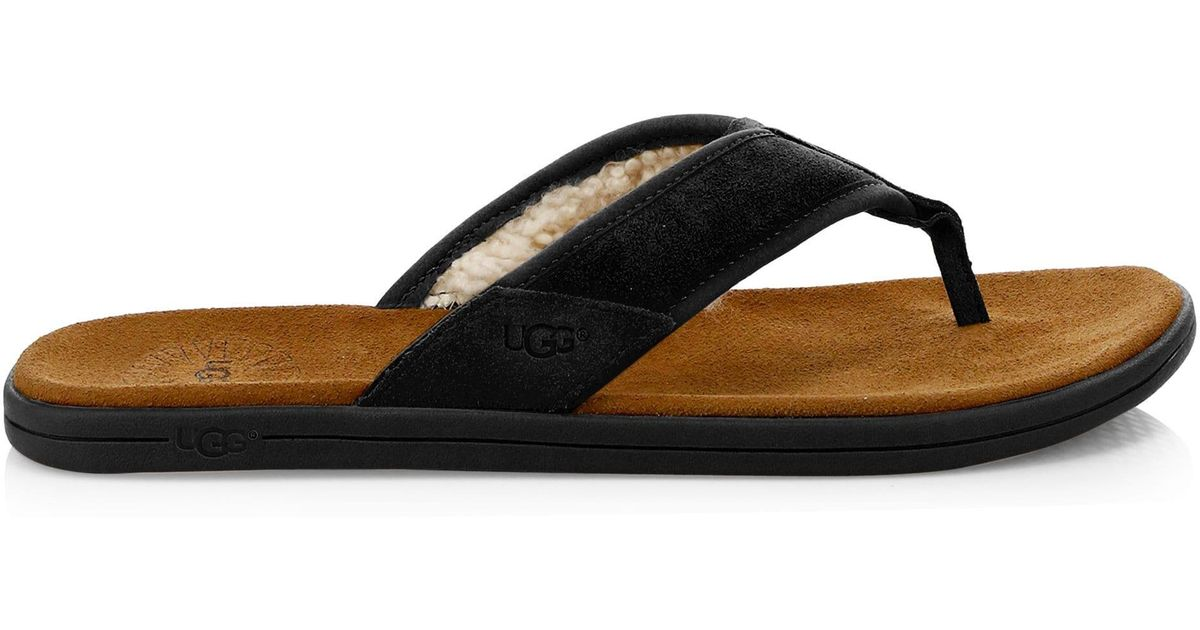 e1211b90169 Ugg - Men's Seaside Suede Faux Shearling-lined Flip Flops - Black for Men -  Lyst