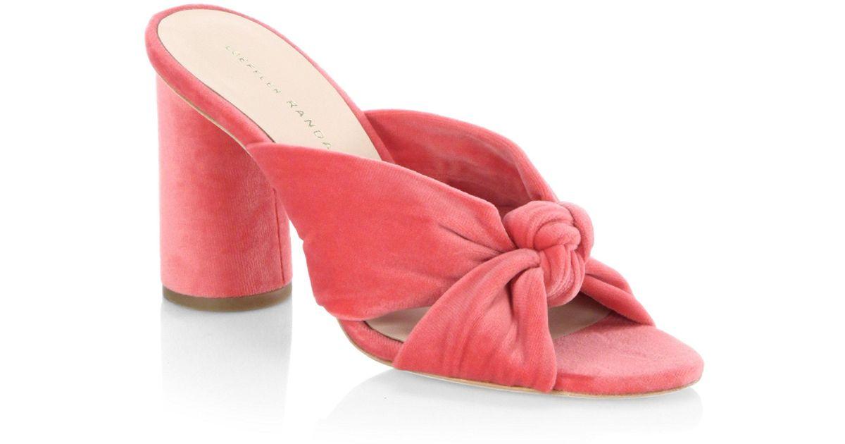 513315c530a Loeffler Randall Pink Coco Knotted Velvet Block Heel Mules
