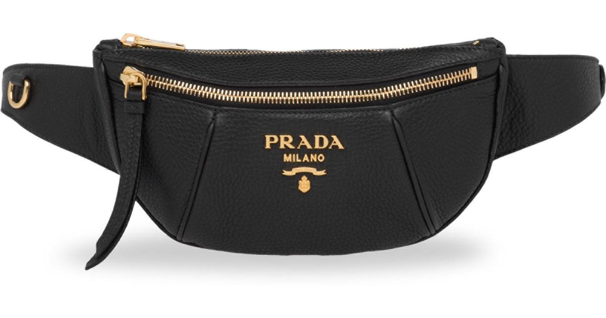 c3ae3c3aa4 Prada Black Vitello Daino Pebbled Leather Belt Bag