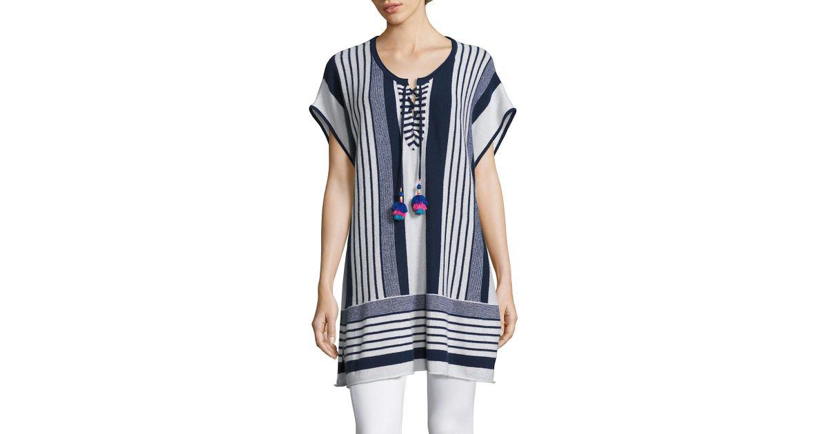 593c97d2ea0b4 Lyst - Calypso St. Barth Saerani Striped Cashmere Tunic Sweater in Blue