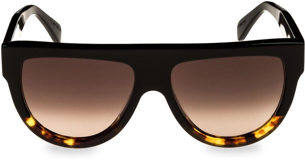68e0df6cc87 Lyst - Céline Women s Flat Top Universal Fit Aviator Sunglasses - Havana in  Brown