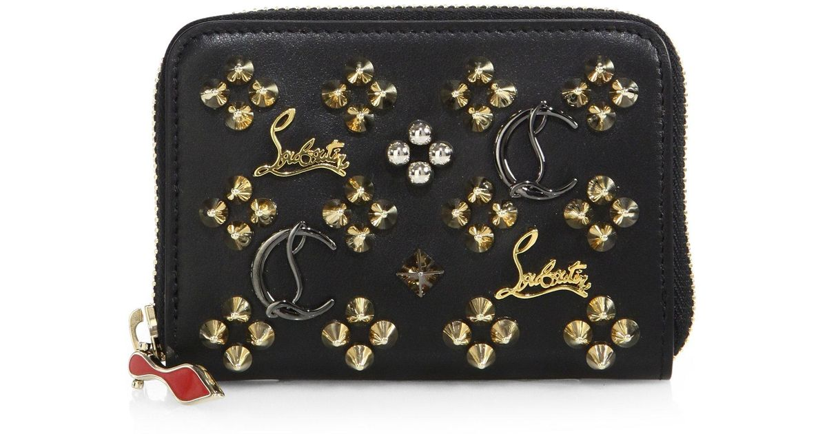 4741fb6109c Christian Louboutin - Black Panettone Logo-detail Studded Leather Coin  Purse - Lyst