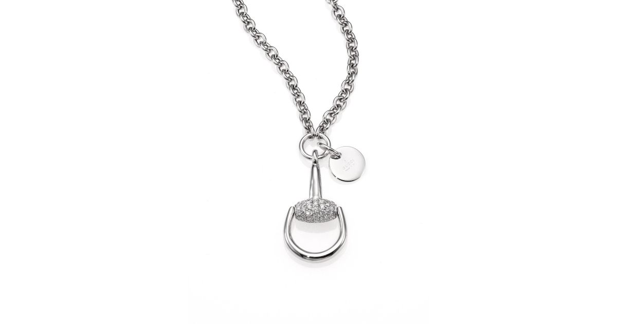 Lyst gucci horsebit diamond 18k white gold pendant necklace in lyst gucci horsebit diamond 18k white gold pendant necklace in metallic aloadofball Gallery