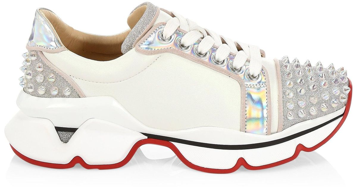 fb1e4f90fec Christian Louboutin White Orlato Spike Sneakers