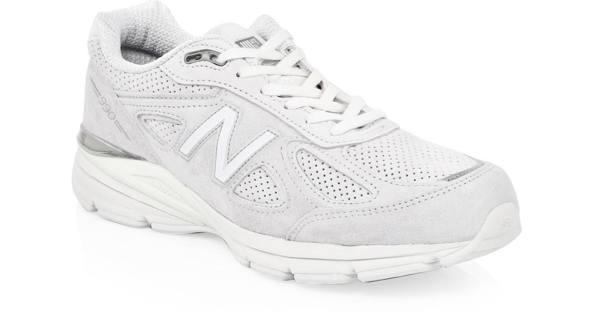 50096c18eebee New Balance 990 Perfrun Suede Sneakers in White for Men - Lyst