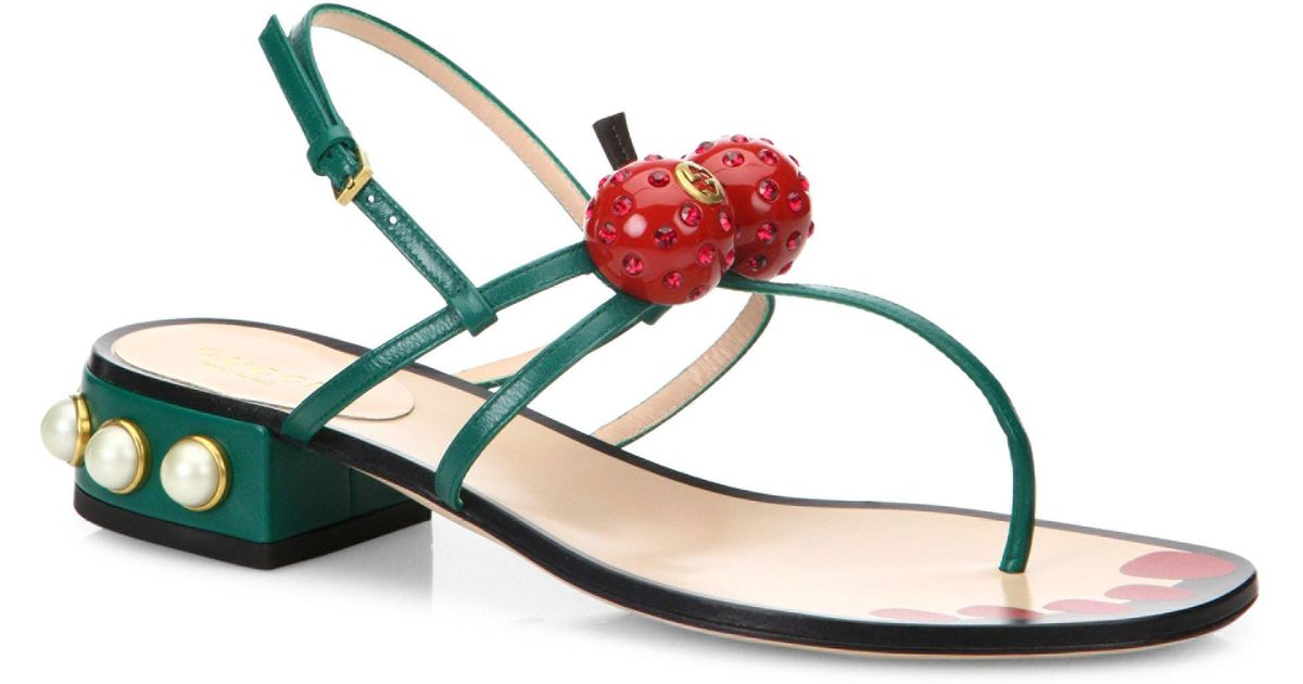 Gucci Hatsumomo Cherry Leather Thong