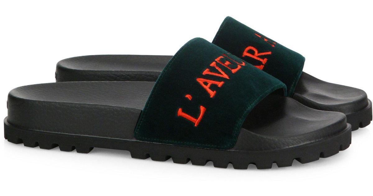 8e4987b5b94 Lyst - Gucci Pursuit Trek L aveugle Par Amour Velvet Slides in Black for Men